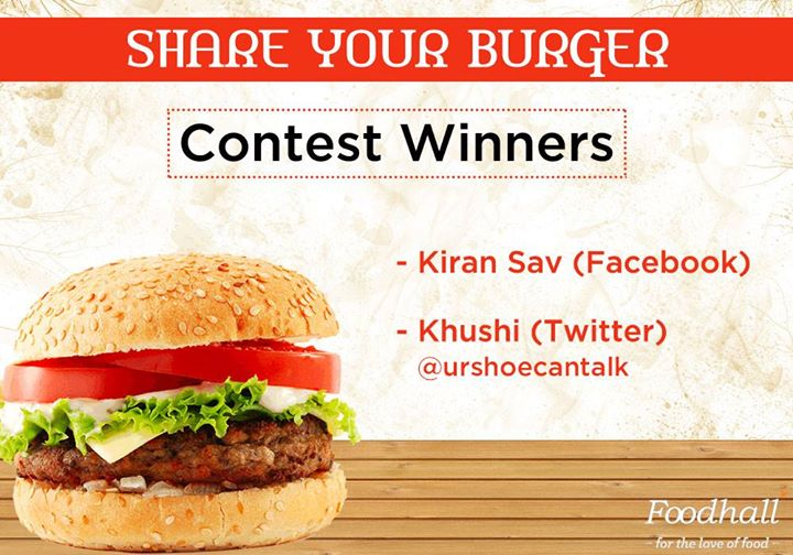And the result is here! The winners of the #ShareYourBurger contest are: Kiran Sav and Khushi. Congratulations to the winners and a big thank you to everyone for the lovely entries!