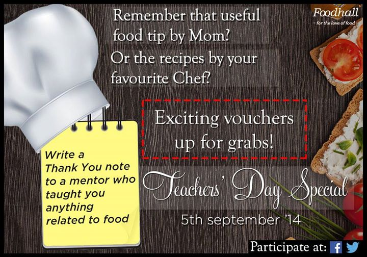 #ContestAlert #FoodieTeacher  Tag and write a thank you note to your teacher or any mentor who taught you anything related to food. Cool vouchers up for grabs!  Happy Teachers' Day to the special ones!  P.S: Contest closes at 9pm today.