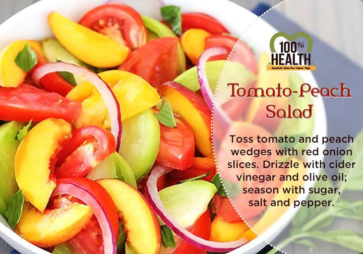 The goodness of tomatoes and  peaches in a nourishing yet tasty salad at lightening fast speed.