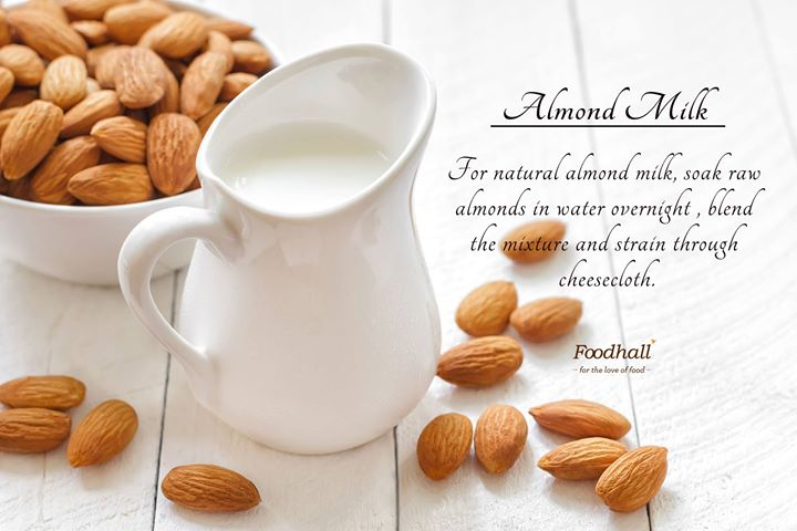 Almond milk, a good alternative to cow's milk owing to its low content in calories.