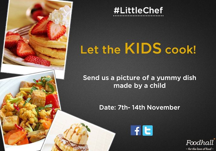 #ContestAlert  Hello, all you lovely people! :D  Can you help us discover our  #LittleChef? Flaunt your child's cooking skills to stand a chance to win a surprise for him/her this Children's day!  Simply click a picture of your child's food creation and upload it on our page using #LittleChef
