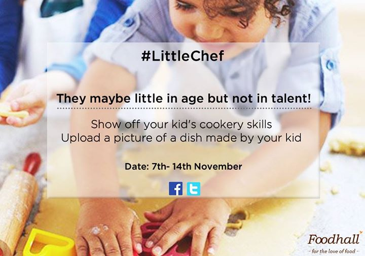 Children's Day is just around the corner and we're looking for our #LittleChef!  Click a picture of a food creation by a child and upload it on our page with #LittleChef  Goodies up for grabs!
