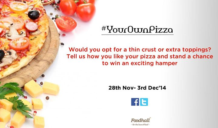 #ContestAlert Who's up for our delicious hamper?   Simply tell us how you like to have your pizza with a description, picture or even recipe along with #YourOwnPizza  Don't forget to share, tag and invite your friends. Hurry! :)