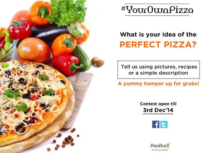 #ContestAlert  Have you participated in our #YourOwnPizza contest yet?  Tell us what you would like in your perfect pizza and stand a chance to win a wholesome hamper!  Don't forget to tag and invite your friends :)