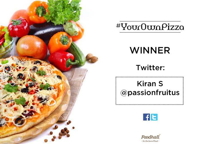 #YourOwnPizza And the results are here! Congratulations to the winner of our contest and a big thank you to all those who participated :)