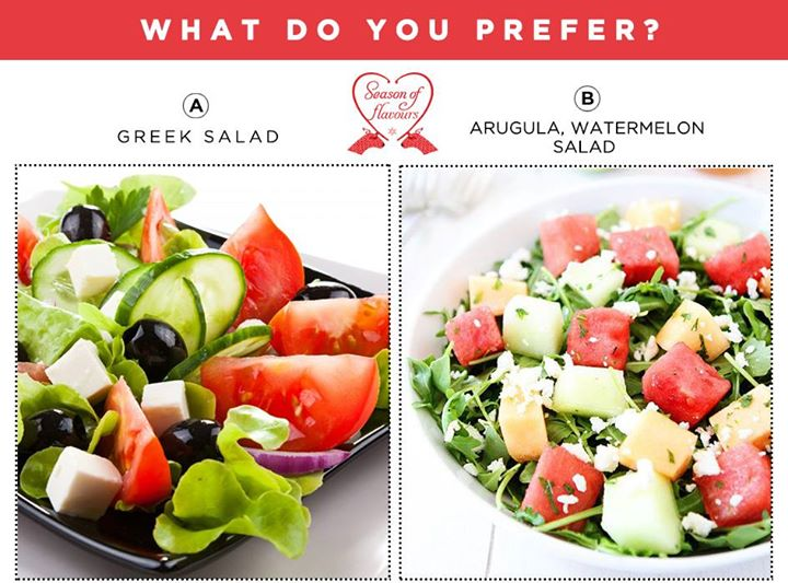 A fresh and colourful greek salad OR an interestingly bitter and juicy  arugula, watermelon salad?