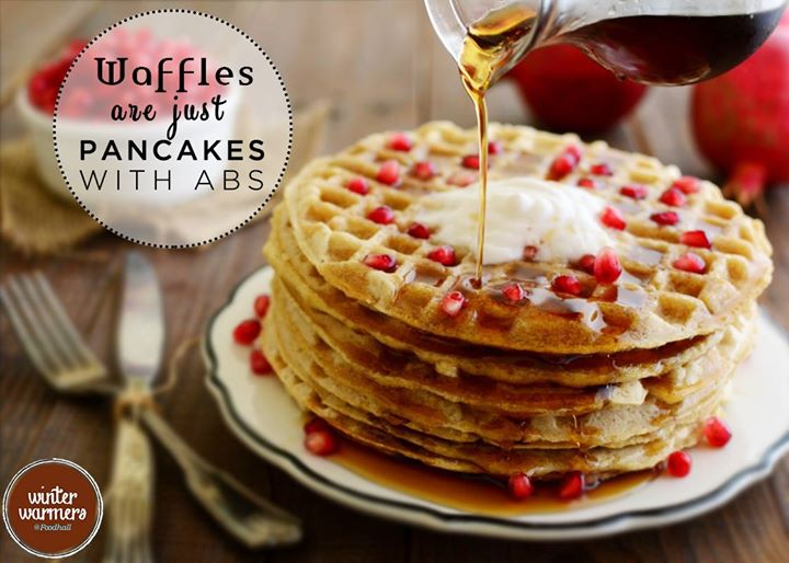 Either way, maple syrup tastes best with both!  What's your pick, waffles or pancakes?