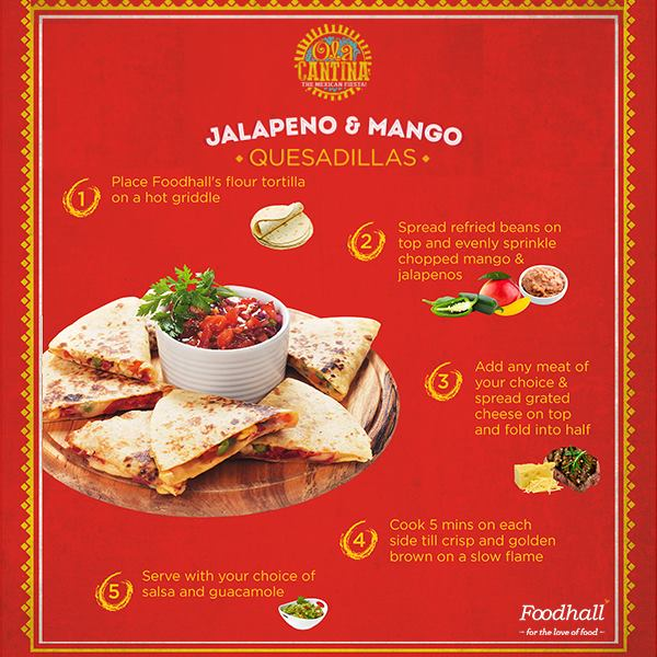 This Jalapeno and mango quesadillas recipe with the blend of sour-spicy Jalapenos and sweet mangos  is just the  appetizer for an upcoming celebration or for your next party!