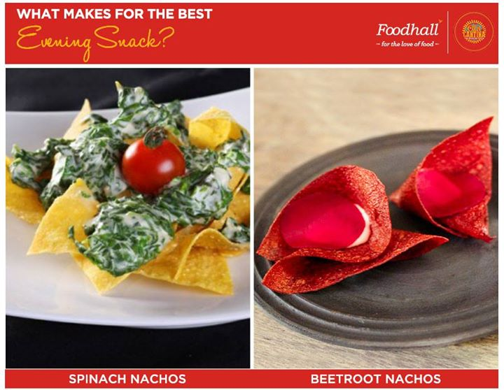 Tempting nachos with a healthy spin of spinach OR beetroot?  Tell us what satisfies those cravings between meals!