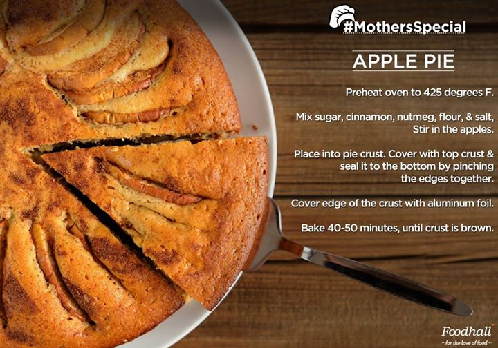 #MothersSpecial  An unanimous favourite, Apple pie is a treat you just can't miss! Popular in every Mother's diary, this recipe brings about nostalgia like no other.  Share a picture of a memorable meal made by your mother for a chance to get featured on our page! :)