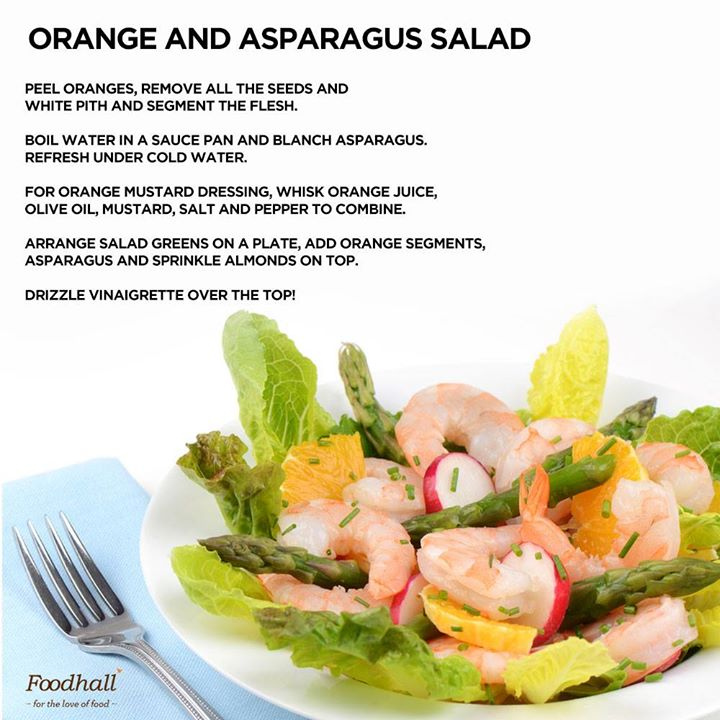#Recipe #SummerSalad  A delightful medley of garden fresh- asparagus with juicy orange complimented by a tart-sweet citrus and mustard dressing, makes this salad a must-have for the season.