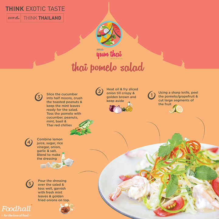 When you think Thailand, there's no missing out on the Thai Pomelo Salad.  Create an authentic Thai experience at home with a simplified recipe of this refreshing and uniquely flavoured salad.