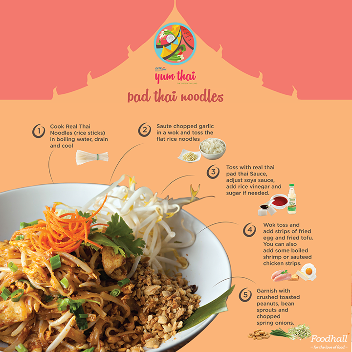 The perfect blend of sweet and sour flavors, create a delectable combination of flat noodles tossed with tofu, spring onions, bean sprouts and peanuts with this quick recipe