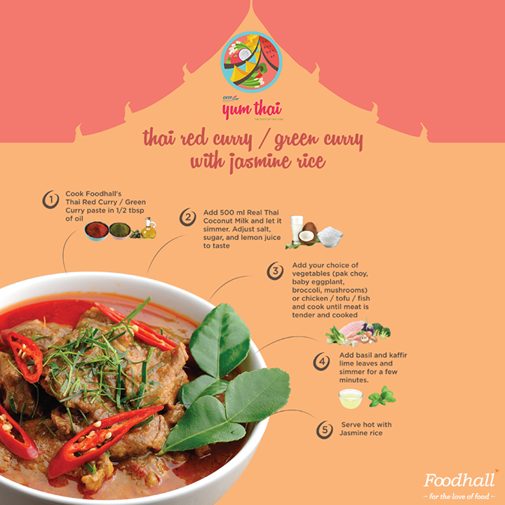 The popular Red/Green Thai curry is complex with flavour yet simple enough for a satiating dinner. Stir up an appetizing meal with this quick recipe of traditional Thai curry #Recipe #YumThai