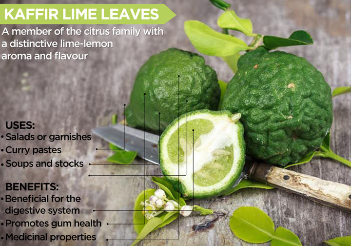 With its spicy, lemony flavour and distinctive citrus scent, these fragrant Kaffir Lime Leaves are used widely in Thai and South East Asian cuisine.