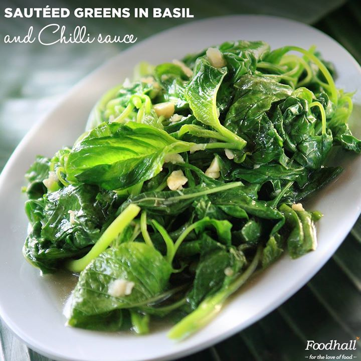 Fresh greens sautéed with basil and chilli sauce is a classic preparation, well suited for a special meal and versatile enough for a light starter.  Taste a delicious array of exotic delights at Foodhall!
