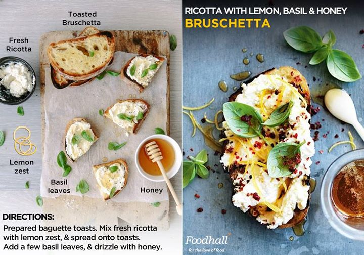 Look forward to a tasty weekend brunch with this recipe of classic bruschetta with a delicious twist.  Mix fresh ricotta with lemon zest and spread onto toasted Bruschetta. Garnish with a few basil leaves and drizzle with delicious honey.
