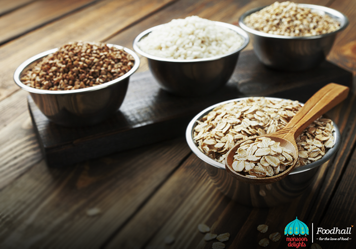 Opt for light meals using brown rice, oats and barley that are easily digestible.  From barley and oats to rice and quinoa, stay fit with a variety of whole grains available at Foodhall!