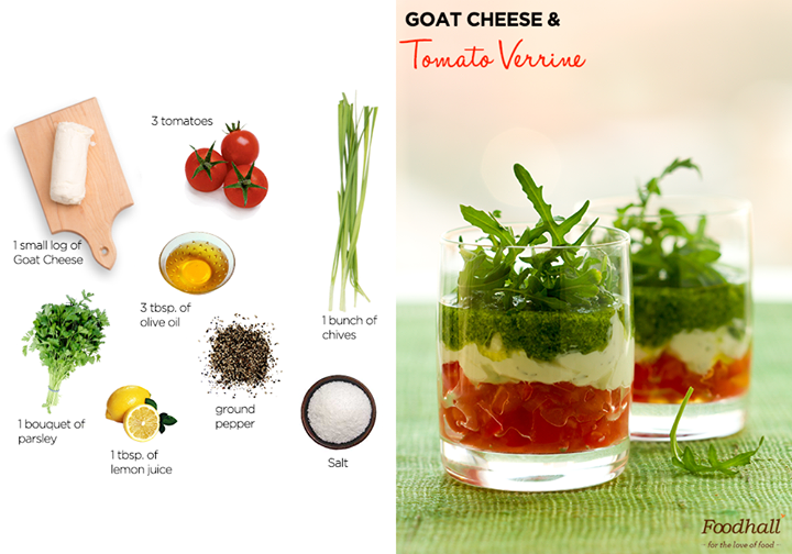 Party in style with this quick and easy recipe!  Place chopped tomatoes in the verrines. Add lemon juice, olive oil and crumble goat cheese. Season with salt and cracked pepper. Top with some fresh herbs and serve!