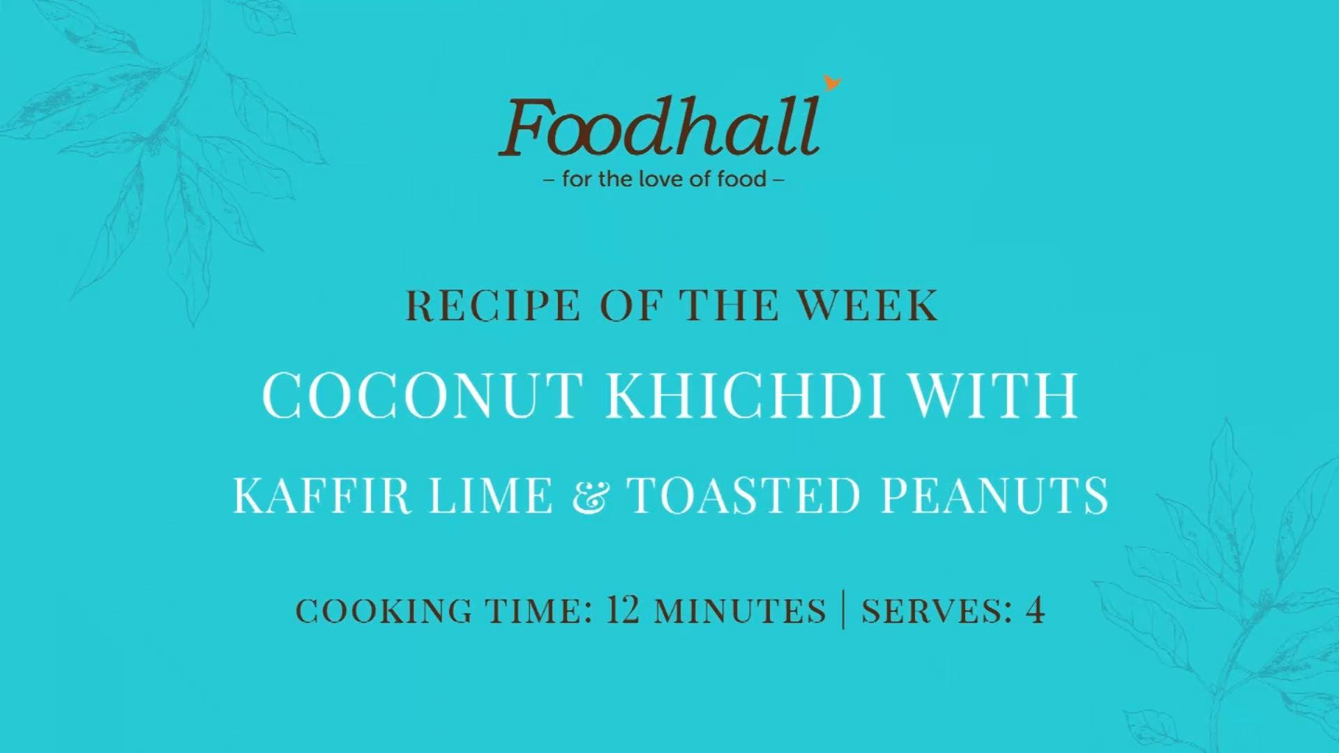 #RecipeOfTheWeek: Coconut Khichdi with Kaffir Lime & Toasted Peanuts. Not your average khichdi, this traditional congee is infused with the citrusy scents and lingering flavours characteristic of kaffir lime leaves. Toasted peanuts add a delicious crunch, rendering this dish a wholesome and hearty hug in a bowl at the end of a long day!  #FoodhallIndia #ForTheLoveofFood #RecipeShare #CoconutKhichdi #VegetarianRecipe #ComfortFood #Khichdi #KaffirLime