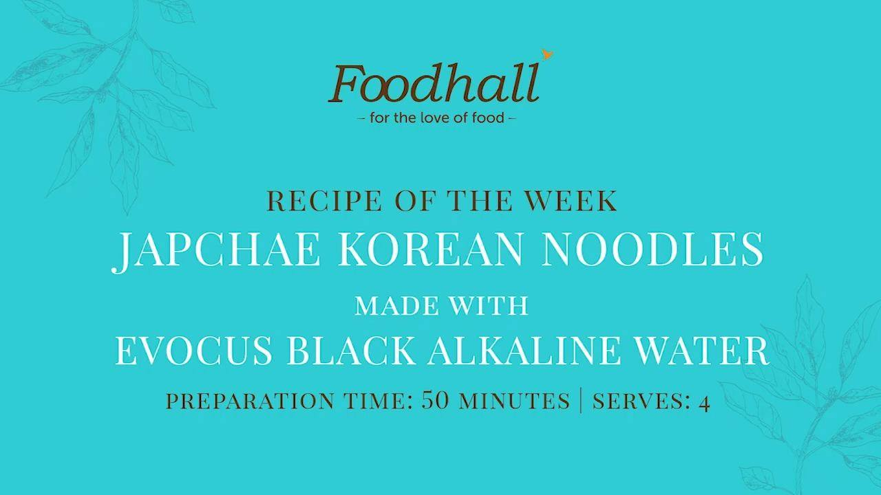 #RecipeOfTheWeek: Korean Noodles Made With Evocus   A popular Korean banchan or side-dish made with cellophane noodles, our easy-to-follow #Japchae recipe features a few simple but key ingredients - Evocus' black #alkaline water, shiitake mushrooms and peanut oil! Springy and seasoned with white sesame and fresh scallions, these noodles are a treat to try with friends and family!   #FoodhallTrivia: While, Japchae originated in China, it's evolved into a wildly popular Korean staple that was once a fixture in the Korean Royal Court cuisine!  #ForTheLoveofKoreanFood #FoodhallIndia #EvocusAlkalineWater #KoreanCuisine #Banchan #KoreanRecipes #RecipeShare #Japchae #JapchaeRecipe