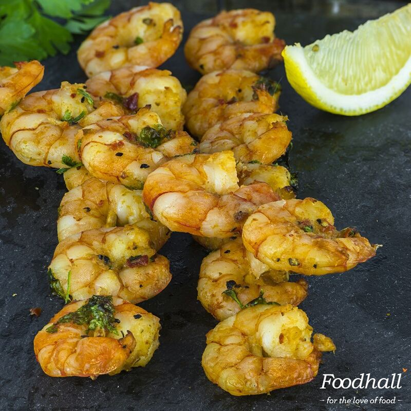 We've got the perfect starters to kick start your next sundowner. Toss some prawns with spicy wasabi and skewer them for a handy little treat.  #FoodhallIndia #Wasabi #Prawns