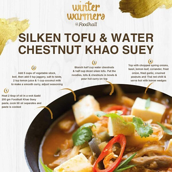 Give your taste buds a twist of delicious flavours with our delicious silken tofu and water chestnut khao suey!   #FoodhallIndia #Tofu #KhaoSuey