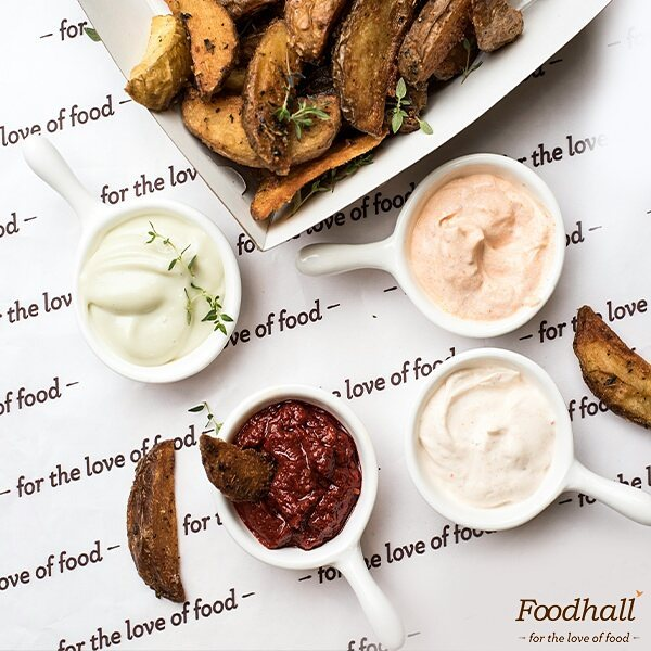 This #monsoon, stop by our pomme frites station & enjoy this #snack in four different ways.  From wasabi mayo and peri-peri sour cream to sambal oelek and chipotle sour cream, there's a #dip for everyone!  Which one is your favourite?  #ForTheLoveOfFood #FoodhallIndia