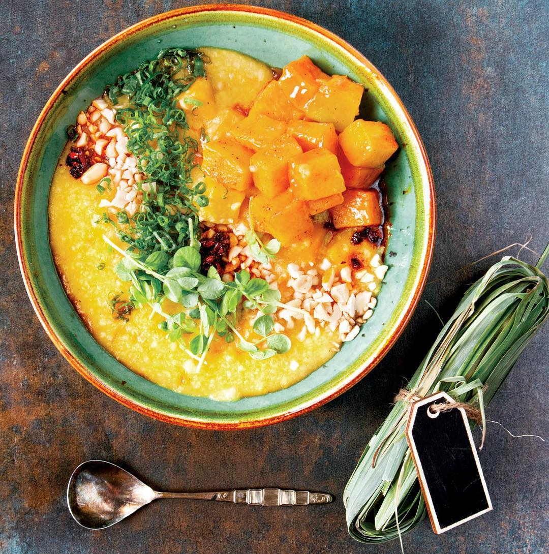Celebrate International Yoga Day with mindful eating and cooking for the soul. This Pumpkin Congee is the Chinese equivalent to the Indian khichdi. It is rich in flavour but light on the stomach. Find this recipe by Chef Kelvin Cheung and many more, in The Foodhall Cookbook. Pick a copy at your nearest Foodhall. #InternationalYogaDay #MindfulEating #Vegan #Asian #Soulfood #HealthyHabits #ForTheLoveOfFood #FoodhallIndia #TheFoodhallCookbook #Recipes (Photograph by Anshika Varma)