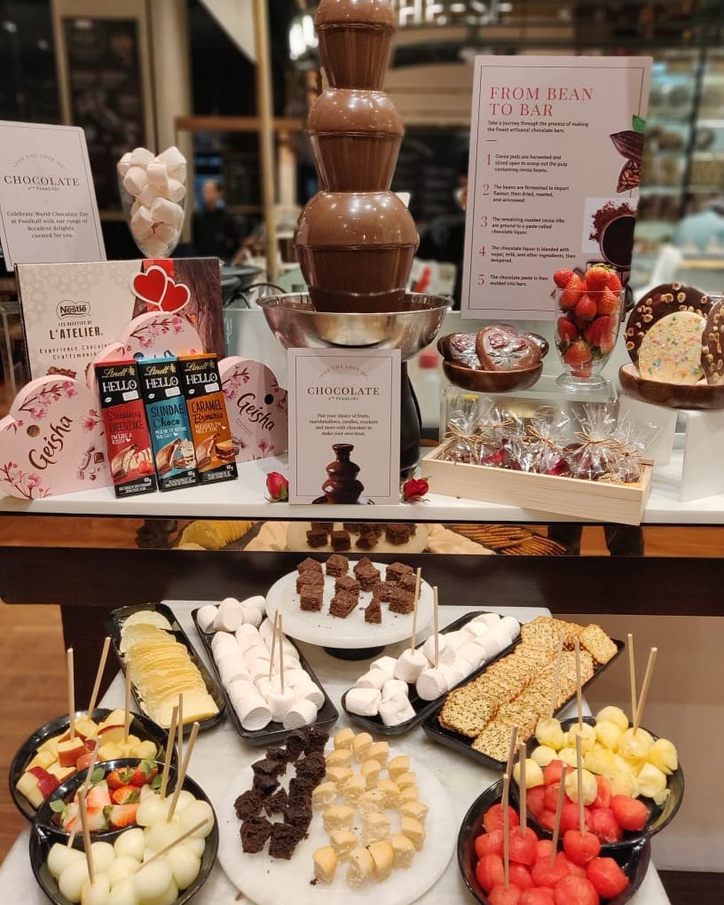 It's Chocolate day! How about dipping brownies, chips, fruits and marshmallows in a luscious chocolate fountain? Join us to experience the flowing decadence of Chocolate @FoodhallIndia  stores - 1MG and VR, Bangalore; Palladium and Linking Road, Mumbai; and Vasant Kunj, Two horizon and MKT, Delhi.  #ChocolateDay #ForTheLoveOfFood