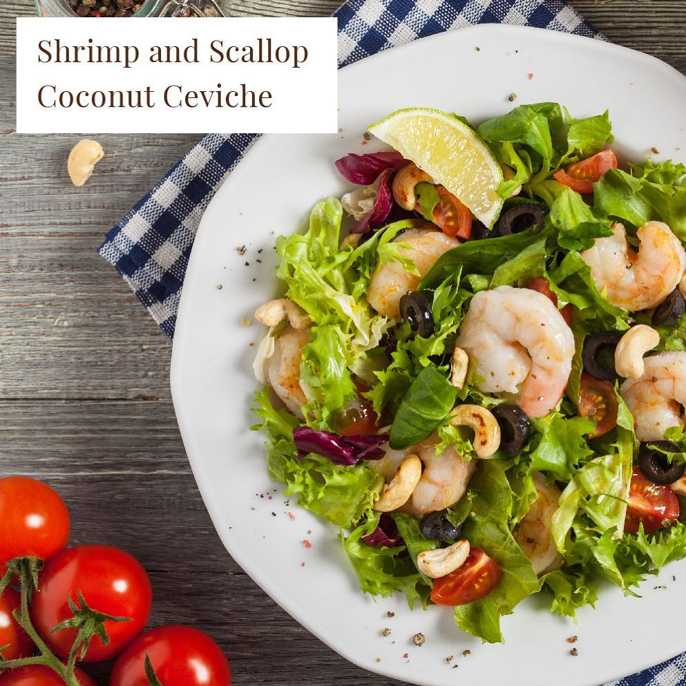 Summer's are for light bites and this Shrimp and Scallop Coconut Ceviche won't disappoint. Three fresh ingredients team up to bring you a recipe that's heavy on flavour but light on the system. Check out our story today or highlights on our page for the full recipe.  #ForTheLoveOfFood #Recipe #RecipeOfTheWeek