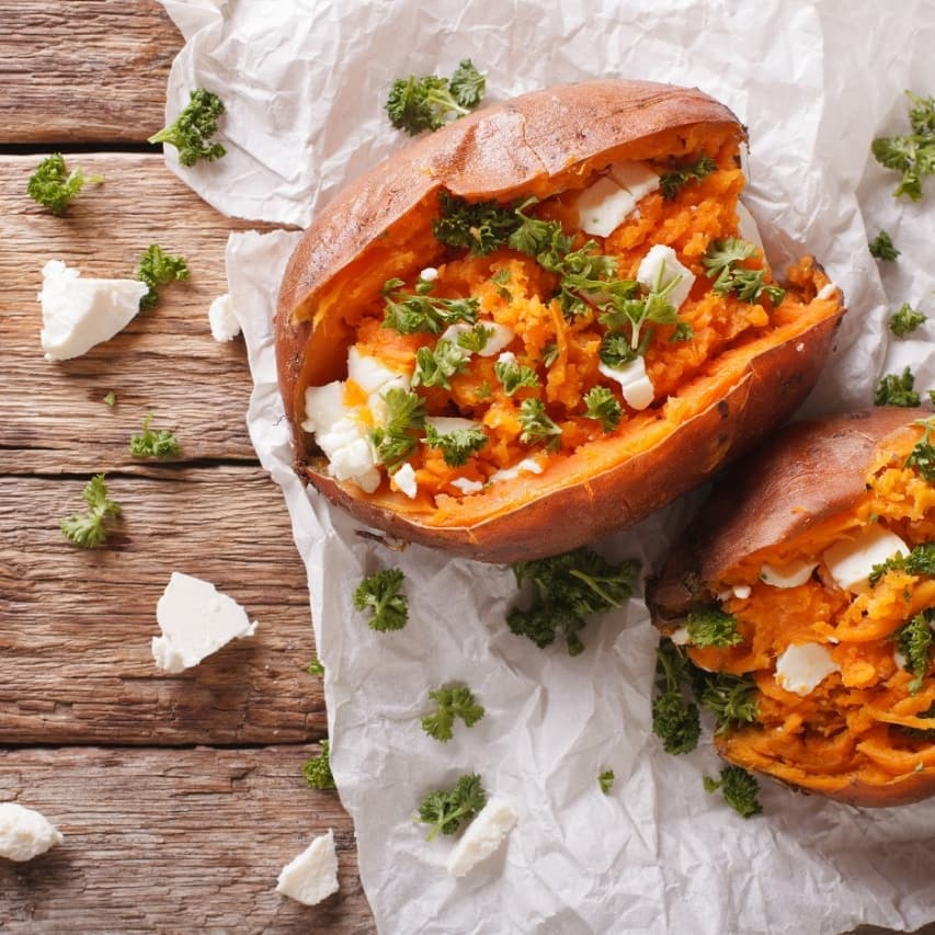 Capitalize on the comfort of baked sweet potatoes for a veggie dinner rich in fibre, vitamins and minerals. Simply rub a little oil and bake this sweet root vegetable to a tender perfection, fluffing the inside-flesh with a fork before you pile on the toppings. The variety is endless. Will it be kale, feta and avocado or fresh feta and parsley? Nut butters make a nourishing addition too… Get cooking at home this #monsoon-season with #FoodhallIndia!  #FoodhallIndia#ForTheLoveofMonsoons #ComfortFood #SweetPotato #MonsoonStaycation #StuffedSweetPotato #BakedSweetPotato
