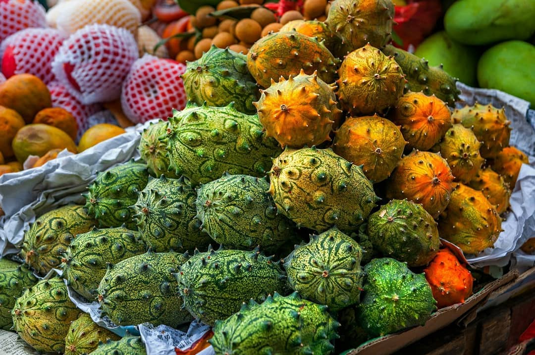#FoodhallLoves: Horned Melons!  Also known as Kiwano melon, you'll find this peculiarly-shaped African fruit sheathed by small spiny projections or horns! Bright orange when ripe, it cuts open to reveal a lime-green, gooey inner flesh studded with edible seeds!  Despite its bold appearance, horned melons are mildly sweet in flavor, much like cucumbers (which come from the same family). Spoon the pulp directly from the rind or add it to smoothies and to top up your yogurt bowl.  Packed with essential nutrients and antioxidants, this rare fruit also promotes healthy red blood cell production blood sugar and may be a mood-enhancer! Discover this exotic fruit for yourself at a Foodhall near you.  #FoodhallIndia #ForTheLoveofFruits #HornedMelon #ExoticFruits #FruitLovers #KiwanoMelon
