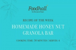 #RecipeoftheWeek: Homemade Honey Nut Granola Bar.  Perfect for healthy snacking on-the-go, these granola bars are loaded with crunchy flavor and wholesome goodness. We recommend always keeping a couple on hand for the next time your sugar cravings strike!  #FoodhallIndia #ForTheLoveofFood GranolaBar #HealthyRecipe #RecipeShare #HoneyNutGranolaBar #GranolaLovers #HealthyEating #HealthySnacking