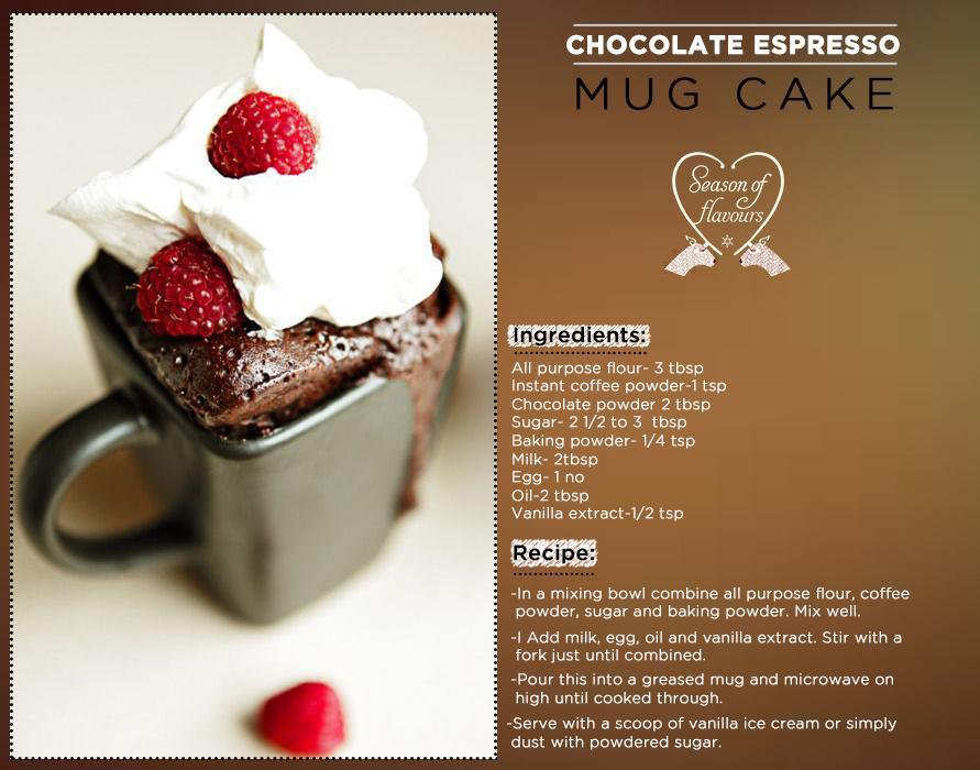 All the joy of the season in a mug! Whip up a decadent Chocolate Espresso Cake with this quick recipe #Recipeoftheday http://t.co/yrWIczkaIB