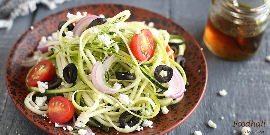 Get a tub of Spiralized Zucchini or 'Zoodles' from our stores & try this Greek Zoodles #salad by @AmritaOfLife: https://t.co/nisJrNgHNV https://t.co/ZQMoGWIfbZ